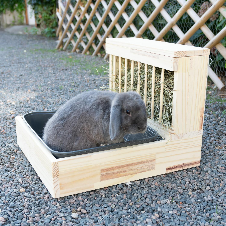 bac à litière avec râtelier inclus pour lapin